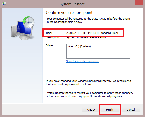 Confirm your Restore Point Time GMT